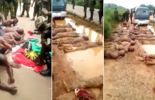 Nigerian Soldiers torture IPOB Members, Forces them to sleep in and drink dirty water, one dead (photos)