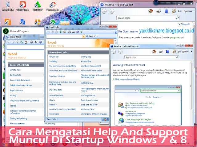 Cara mengatasi help and support  muncul di startup windows 7 & 8