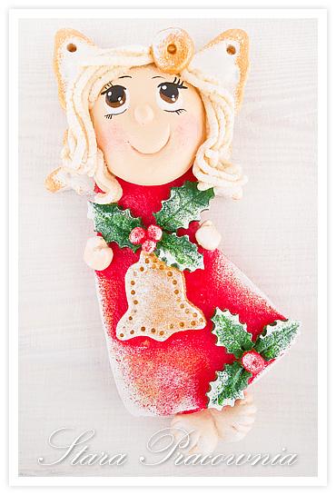 świąteczny aniołek z masy solnej, ozdoby świąteczne z masy solnej, salt dough