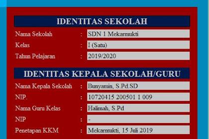 Download Aplikasi KKM Kurikulum 2013 Tahun Pelajaran 2019/2020 Kelas 1 SD Sudah Jadi