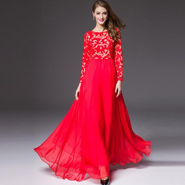 long sleeve designer dress for women