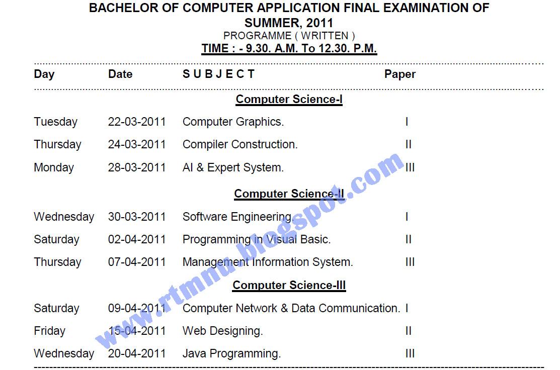 Nagpur University's Home  : BCA Final 2011 , BACHELOR OF