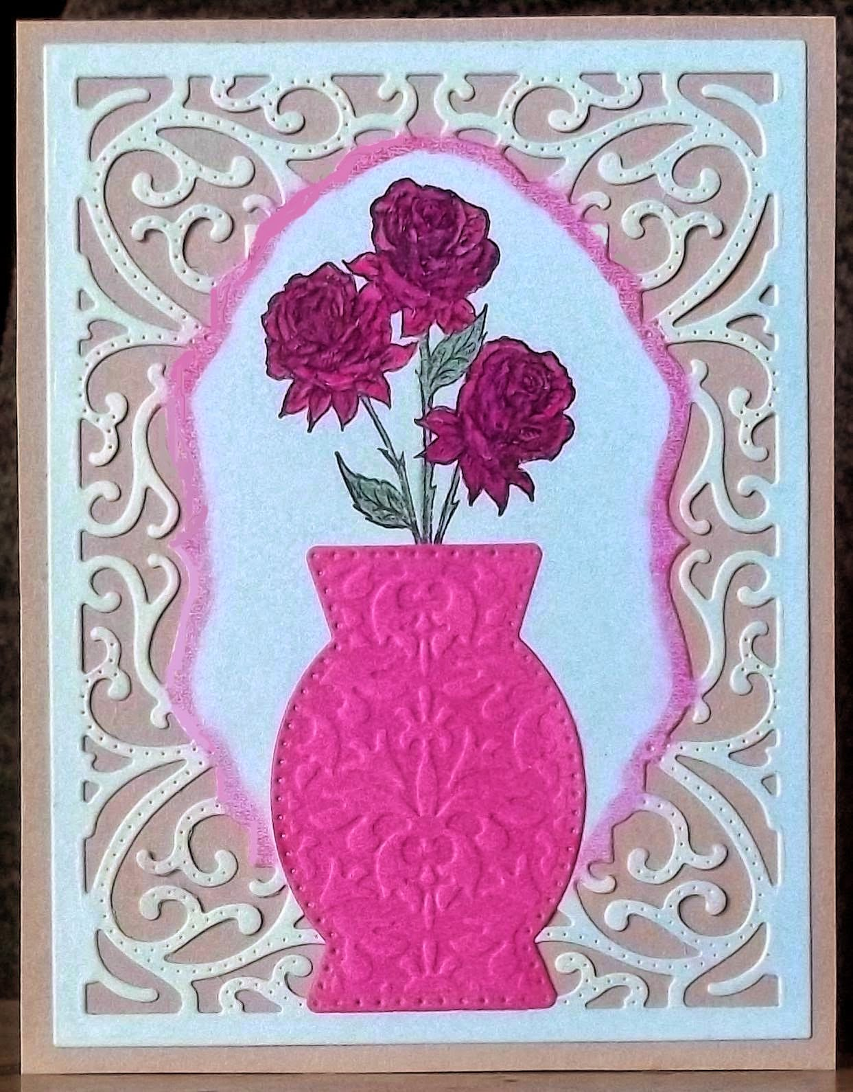 Our Daily Bread Designs, Rose, Decorative Vase, Vintage Flourish Pattern Die