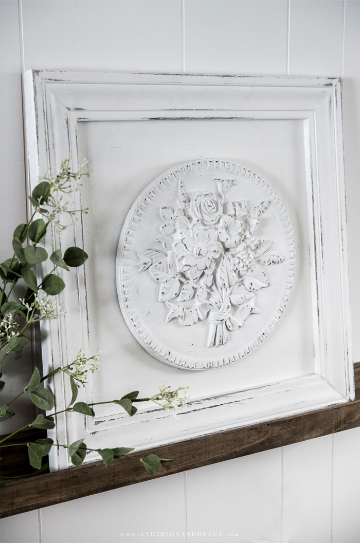 Floral medallion in frame
