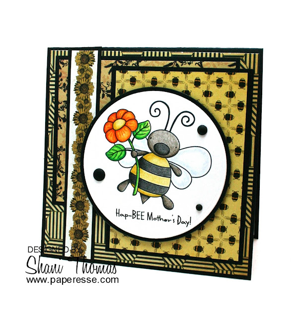 Hap-BEE Mother's Day! card, featuring Whimsie Doodles Pollen for You digital stamp,  by Paperesse.