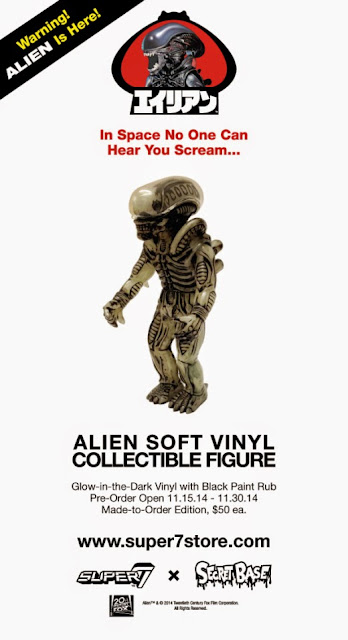 "Glow in the Dark with Black Rub Alien Xenomorph ""Big Chap"" Popy Soft Japanese Vinyl Figure by Super7 & Secret Base"