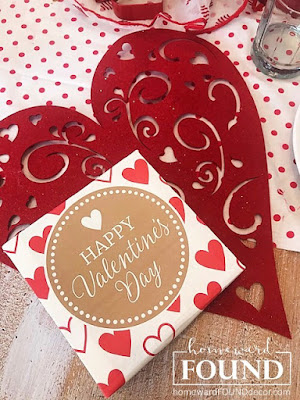 hearts, valentines, home decor, tablescape, red, sweet sweater snowmen, gift wrap wall art, diy, party, winter