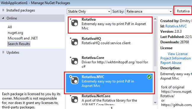ASP NET MVC Generate and Print PDF using Rotativa MVC