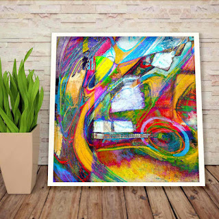 a large 36 by 36 inch digital painting that resembles Hundertwasser's paintings