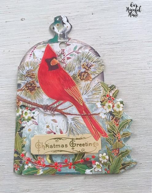 red cardinal ornate Christmas card Christmas Greetings