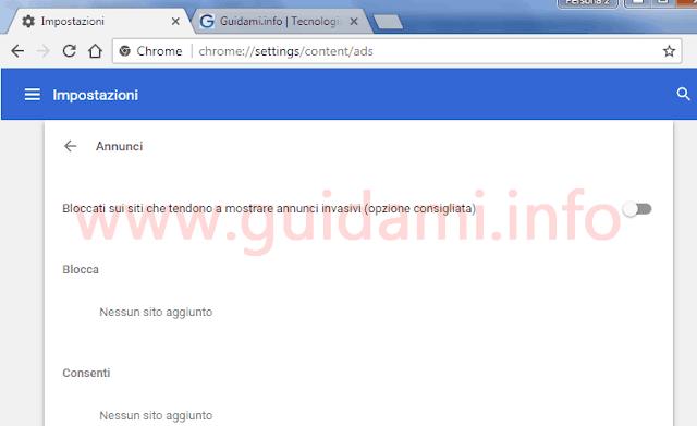 Chrome pagina Impostazioni annunci