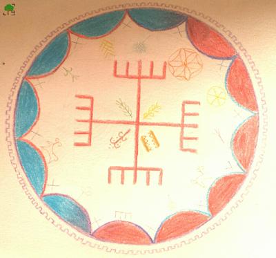 krzyż słowiański, rysunek, symbole słowiańskie