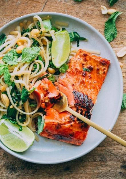 Thai Noodle Salad with Glazed Salmon