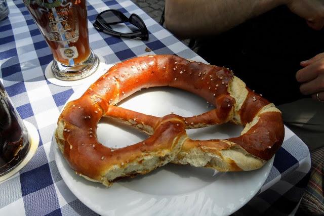 2 days in Munich in Spring: giant pretzel at the hofbrauhaus