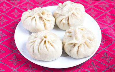 Chinese food - Steamed Buns with fylling of bacon and cabbage