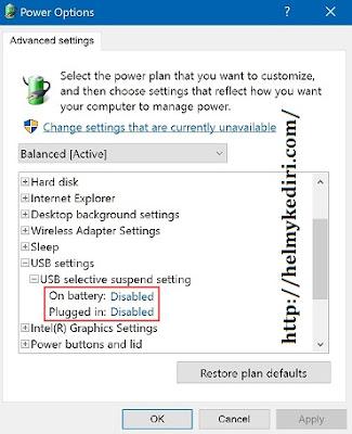 Matikan USB Selective Suspend
