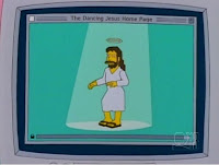 Simpsons Cartoon Image of Jesus with a halo and sandals dancing