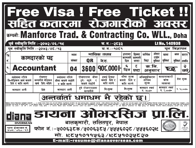 Free Visa Free Ticket Jobs in Doha Qatar for Nepali candidates, Salary Rs 1,08,000