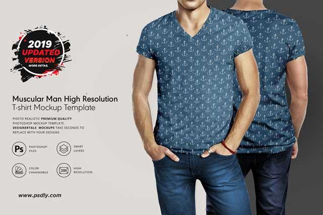 Muscular Men T-Shirt Mockup Template