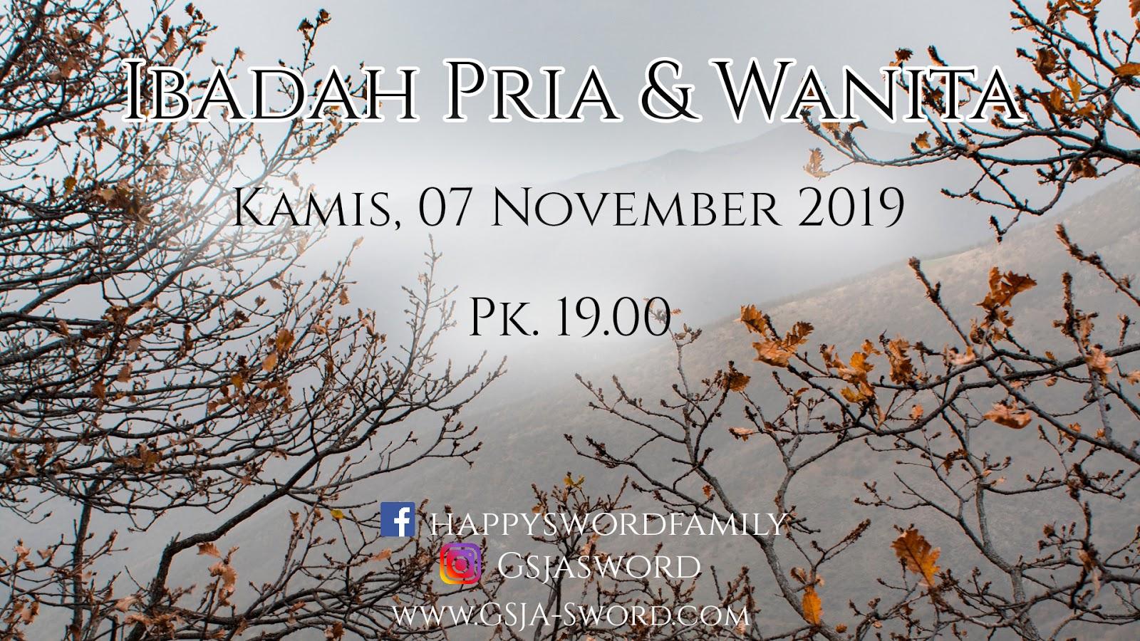 Ibadah Pria 7 November 2019 Jam 19.00 WIB