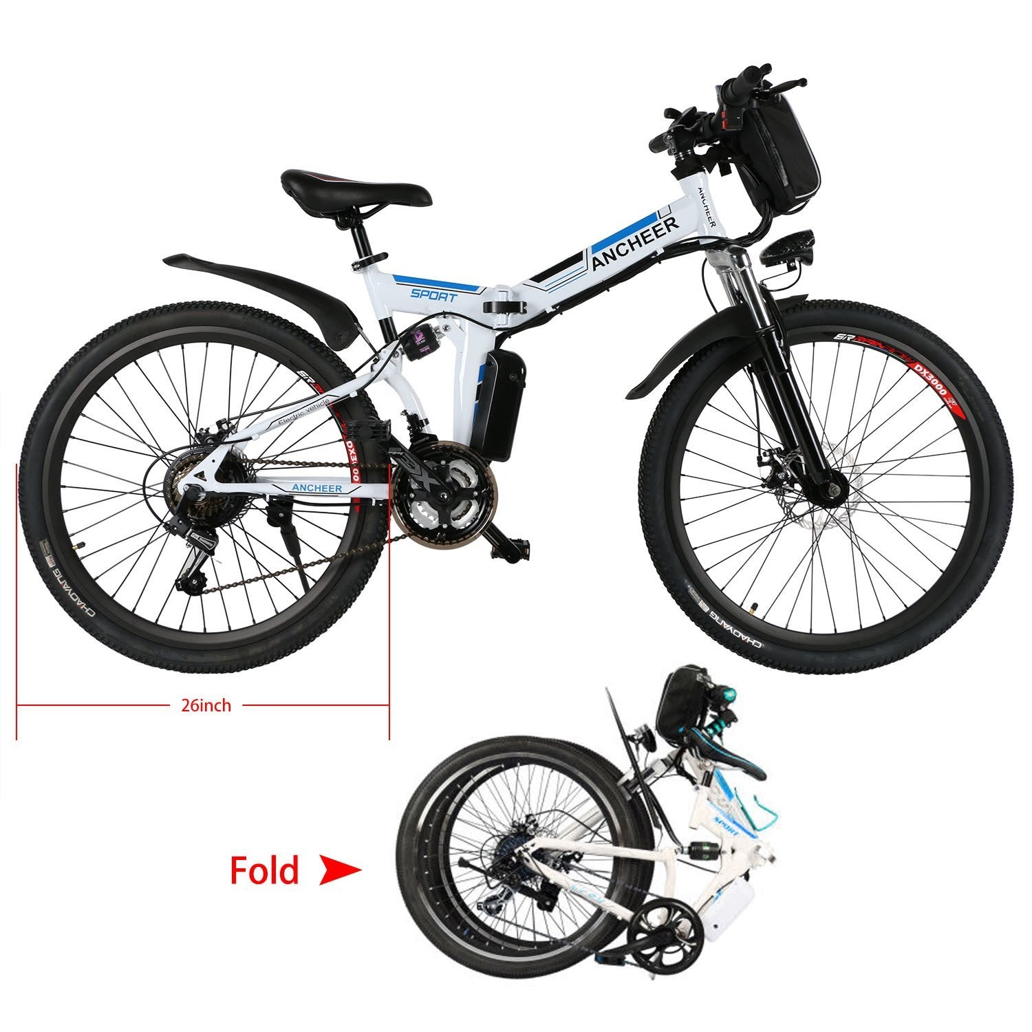 Exercise Bike Zone Ancheer Folding Electric Mountain Bike