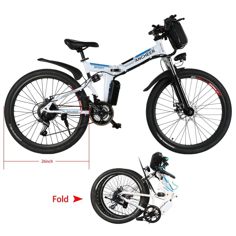 Exercise Bike Zone Ancheer Folding Electric Mountain Bike