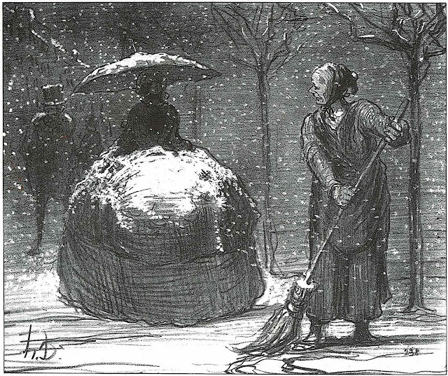 Honoré Daumier, a cartoon about winter and fashion