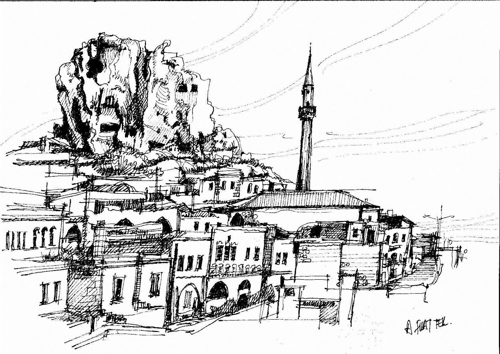 Çizimler Bulut ve Binalarla Birleşti
