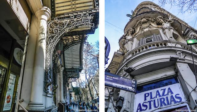 A marquise do Teatro Avenida e o antigo Hotel Paris, dois remanescentes da Belle Époque na Avenida de Mayo, em Buenos Aires