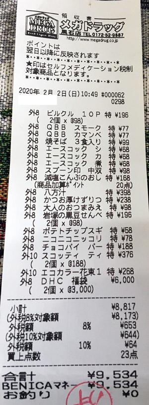 メガドラッグ 黒石店 2020/2/2 のレシート