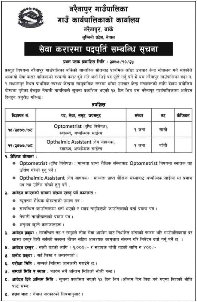 Optometrist and Ophthalmic Assistant Vacancy at Narainapur Rural Municipality