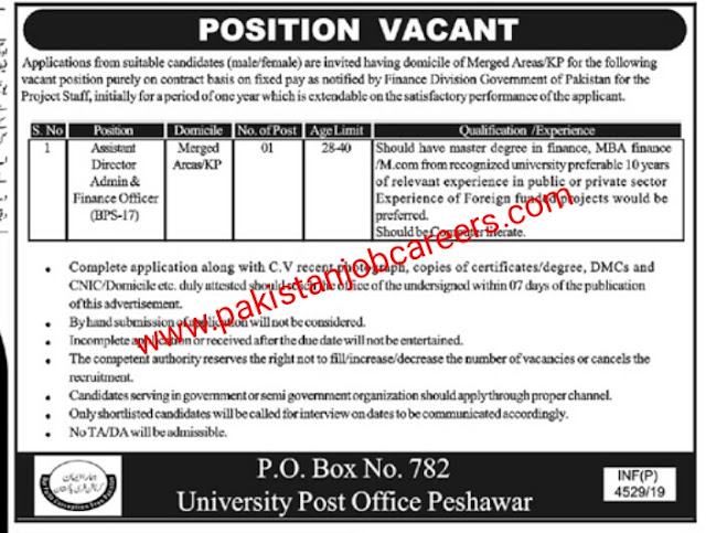 Latest Jobs In PO Box 782 University Post Office Peshawar