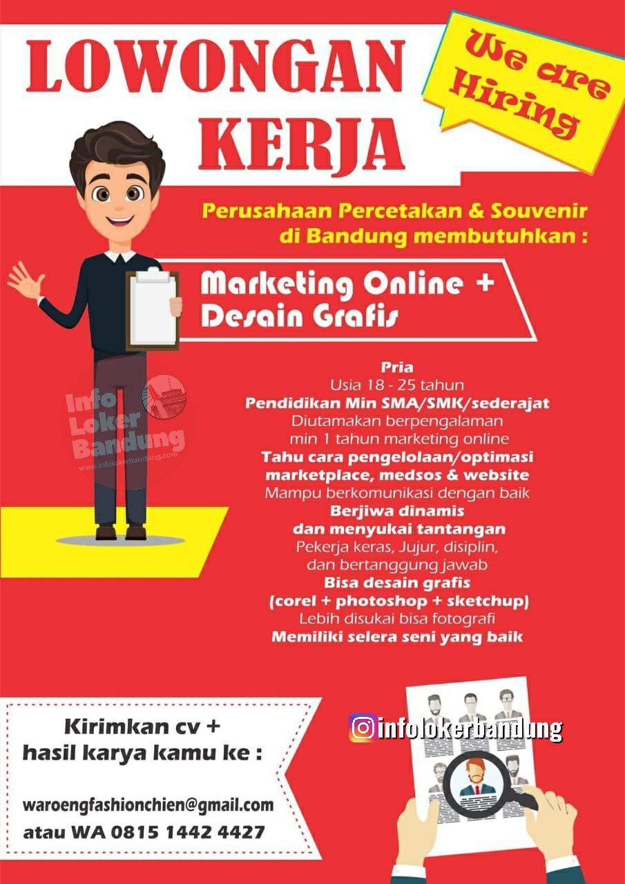 Lowongan Kerja Marketing Online & Desain Grafis Perusahaan Percetakan & Souvenir Bandung Juli 2019