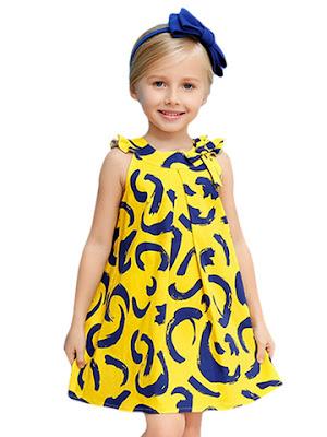 dress anak printing terbaru untuk lebaran 2016