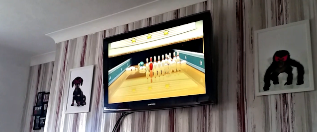 Wii Bowling on the TV.