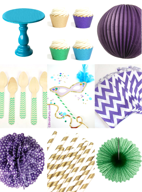 Purple, Green, Teal and Gold Mardi Gras Party Inspiration - BirdsParty.com