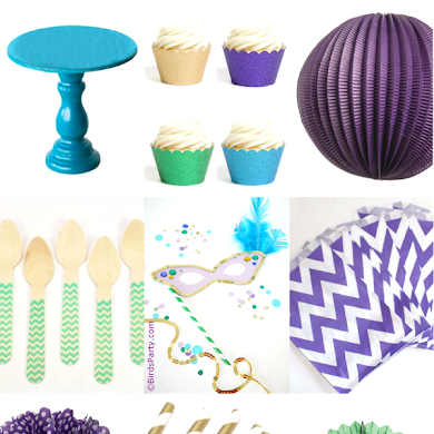 Purple, Green, Teal and Gold Mardi Gras Party Inspiration