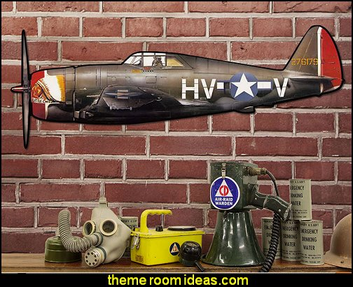 P-47 Thunderbolt Fighter Plane Sign Large Cut Out   Army Theme bedrooms - Army Room Decor - Military bedrooms camouflage decorating - Marines decor boys army rooms - camo themed rooms - Military Soldier - Uncle Sam Military home decor - Airforce Rooms - military aircraft bedroom decorating ideas - boys army bedroom ideas - Navy themed decorating