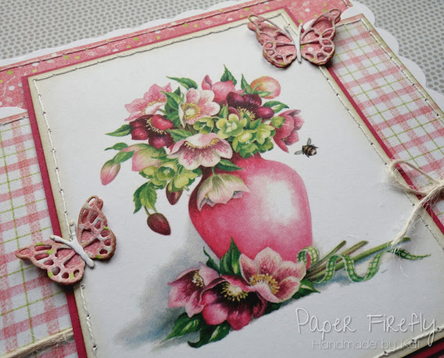 Scalloped easel base card with hellebore art pad image and die cut butterflies