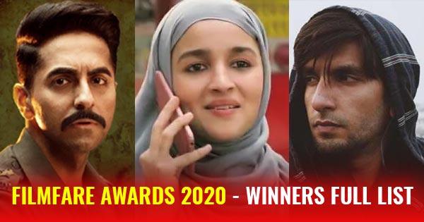 filmfare awards 2020 full list of winners - best actor actress film