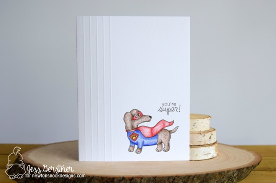 Superhero dachshund card by Jess Gerstner | Dress Up Doxies stamp set by Newton's Nook Designs #newtonsnook