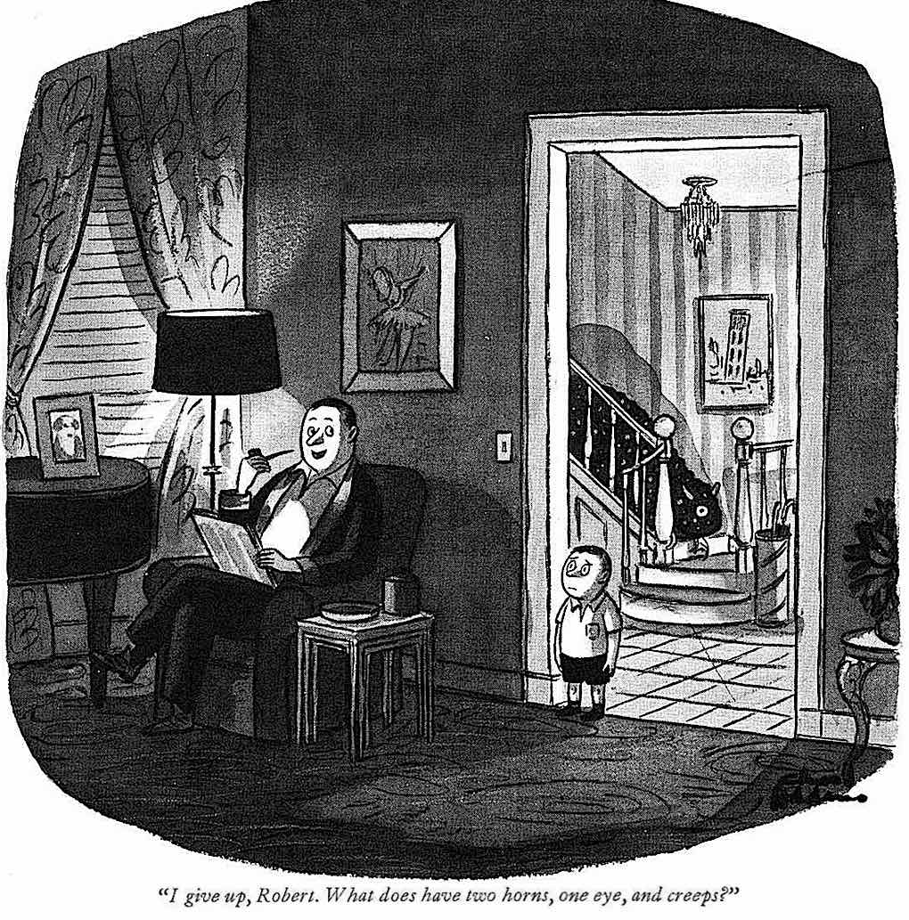 a Charles Addams cartoon about riddles and monsters. dads and sons
