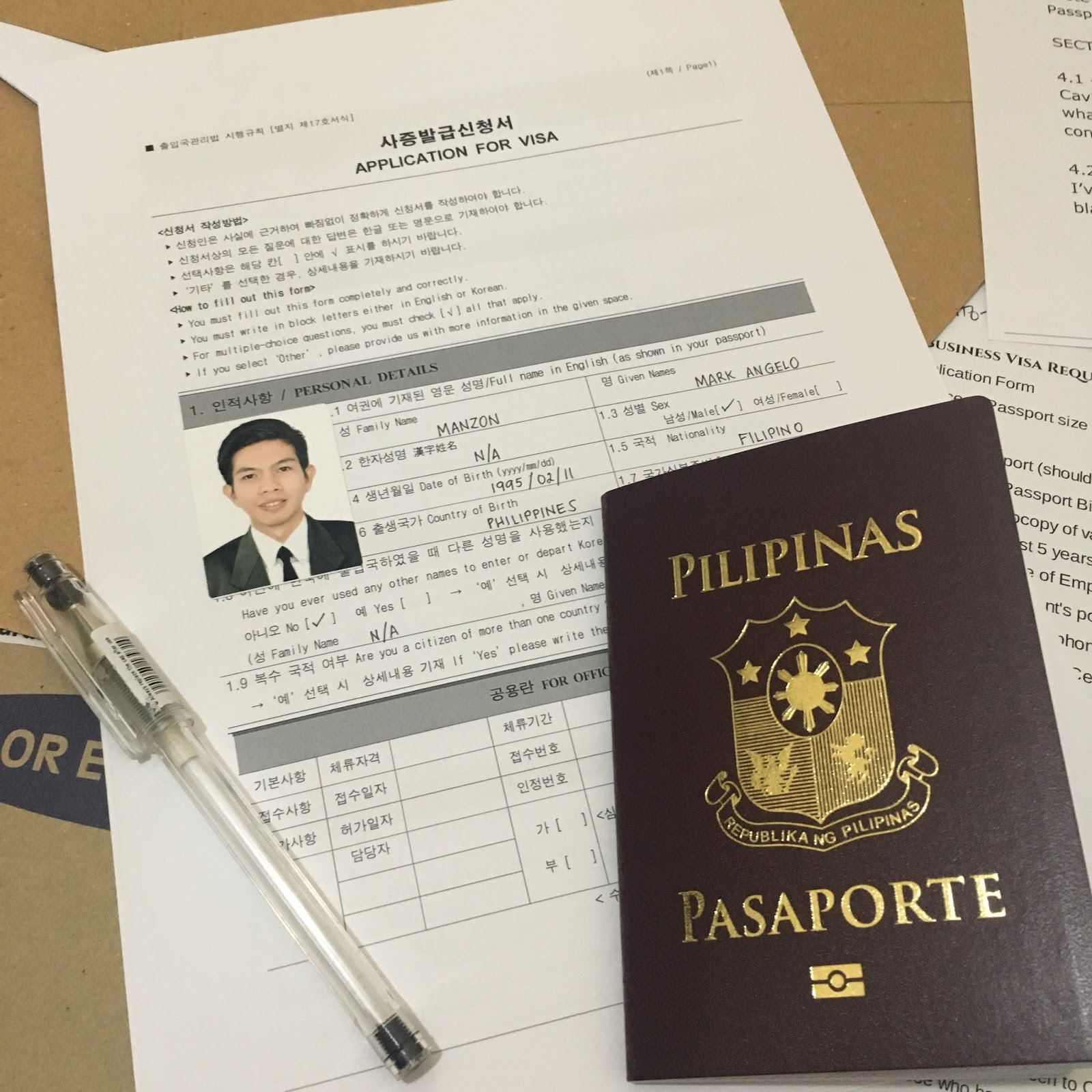 IMG_5795 Korean Visa Application Form Filipino on german schengen, enter japan sample, b1 b2, south africa,