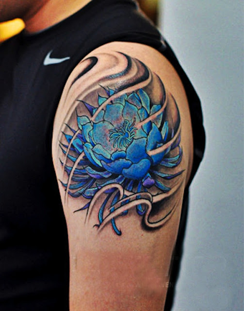 Shoulder Lotus Flower Tattoo For Men