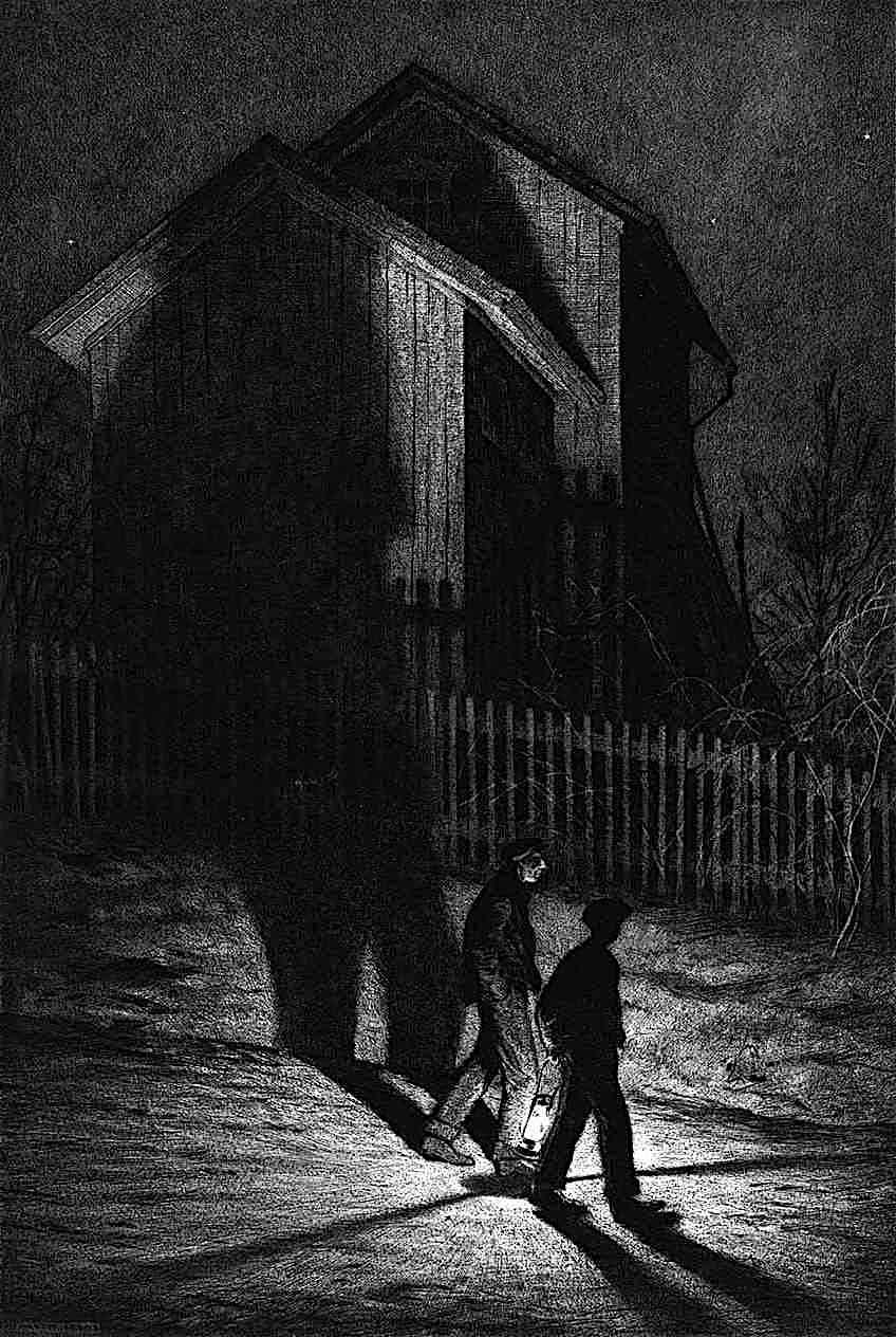 Martin Lewis 1932 print of two men walking with a lantern