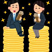 賃金格差のない会社員のイラスト(男女)