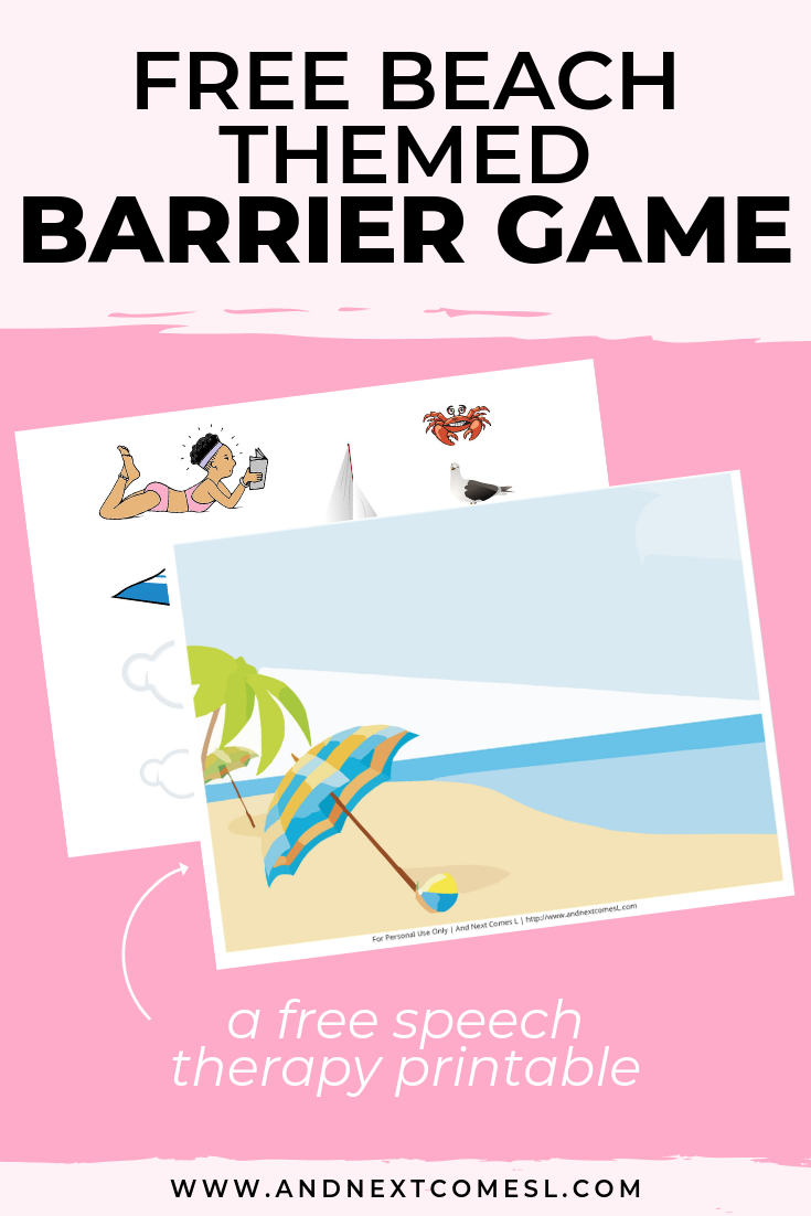 Free speech therapy barrier game: beach themed