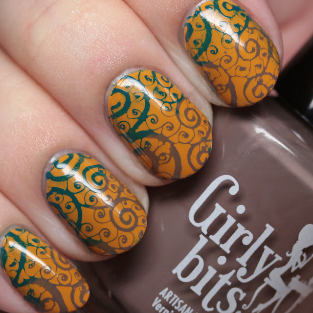 Girly Bits Cosmetics Butternut Leave Me stamped with Sea You Next Fall and Walnuts About You