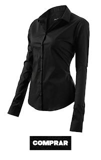 Mujer Camisa Básica de Algodón negra