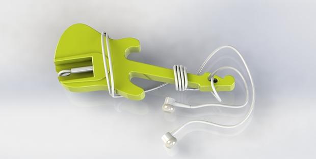 guitarra para enrollar auriculares diseñada con Solidworks